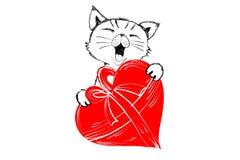 Leuke kat met rood die hart voor gifthand in zwart-wit voor het Gelukkige Valentine-begroeten wordt getrokken Royalty-vrije Stock Foto's