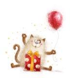 Leuke kat Verjaardagsuitnodiging De partij van de verjaardag Kat met gift en ballon Hand getrokken die kat op witte achtergrond w Stock Foto's