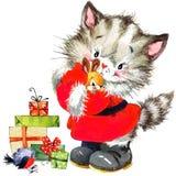Leuke kat Waterverf grappige kat en Kerstmisachtergrond met de winterdecoratie Het Schilderen van de waterverf Royalty-vrije Stock Fotografie