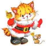 Leuke kat Waterverf grappige kat en Kerstmisachtergrond met de winterdecoratie Het Schilderen van de waterverf Stock Foto's