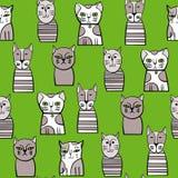 Leuke katten Beeldverhaal vector naadloos patroon Royalty-vrije Stock Foto