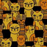 Leuke katten Beeldverhaal vector naadloos patroon Royalty-vrije Stock Afbeeldingen