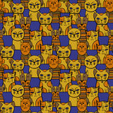Leuke katten Beeldverhaal vector naadloos patroon Stock Foto