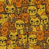 Leuke katten Beeldverhaal vector naadloos patroon Stock Foto's