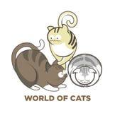 Leuke katten of katjeshuisdieren die of vector vlakke pictogrammen spelen stellen stock illustratie