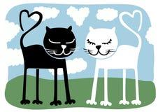 Leuke katten in liefde. Royalty-vrije Stock Foto's