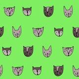 Leuke kattengezichten Beeldverhaal vector naadloos patroon Royalty-vrije Stock Afbeelding