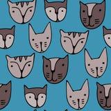 Leuke kattengezichten Beeldverhaal vector naadloos patroon Stock Fotografie