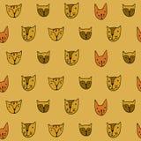 Leuke kattengezichten Beeldverhaal vector naadloos patroon Royalty-vrije Stock Afbeeldingen