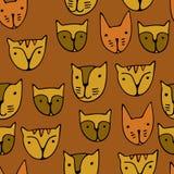 Leuke kattengezichten Beeldverhaal vector naadloos patroon Stock Afbeelding