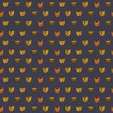 Leuke kattengezichten Beeldverhaal vector naadloos patroon Royalty-vrije Stock Foto's