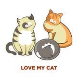Leuke kattenhuisdieren of katjes die of vector vlakke pictogrammen spelen stellen royalty-vrije illustratie