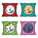 Leuke kattenslaap op een hoofdkussen Vastgestelde katten vector illustratie