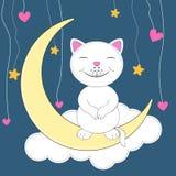 Leuke kattenzitting op de maan Vector Illustratie