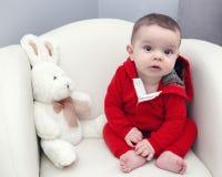 Leuke Kaukasische het meisjes zwarte ogen van de babyjongen Royalty-vrije Stock Fotografie