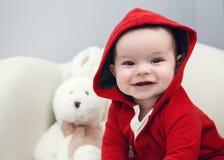 Leuke Kaukasische het meisjes zwarte ogen van de babyjongen Royalty-vrije Stock Afbeelding