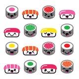 Leuke Kawaii-sushi - Japanse geplaatste voedsel vectorpictogrammen Stock Foto