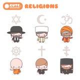 Leuke kawaiiset van tekens: Mensen van verschillende godsdiensten Judaïsmerabijn Boeddhismemonnik Hindoeïsmebrahmaan Katholicisme royalty-vrije illustratie