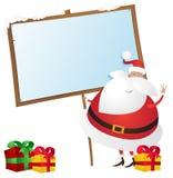Leuke Kerstman met Aanplakbiljet Royalty-vrije Stock Afbeeldingen