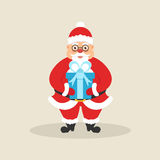 Leuke Kerstman met doos van gift Karakter voor Kerstmis en nieuw jaar Modern vlak ontwerp Vector illustratie stock illustratie