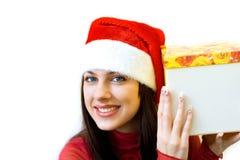 Leuke Kerstman met gift Stock Afbeelding