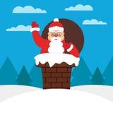 Leuke Kerstman met giftzak in schoorsteen op het dak Moderne vlakke illustratie Stock Afbeeldingen