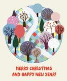 Leuke Kerstmis en Nieuwjaarskaart Stock Foto's