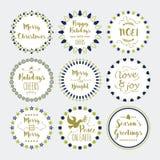 Leuke Kerstmis en Vakantie geplaatste wensenkroon en emblemen Royalty-vrije Stock Foto
