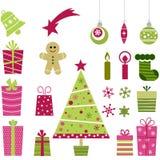 Leuke Kerstmisinzameling Stock Afbeelding