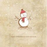 Leuke Kerstmiskaart met sneeuwman Royalty-vrije Stock Foto
