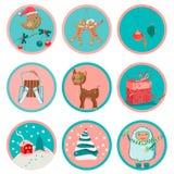 Leuke Kerstmispictogrammen Stock Afbeelding
