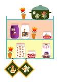 Leuke keukenplanken Kruiken met zoete jam en dromen van comfortabel huis, bloemen in pot, pan en potholders Royalty-vrije Stock Afbeeldingen