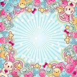Leuke kindachtergrond met kawaiikrabbels vector illustratie
