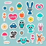 Leuke kinderachtige stickers Stock Afbeelding
