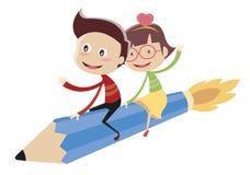 Leuke kinderen die op vliegend potlood zitten vector illustratie
