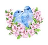 Leuke kleine blauwe vogels in bloei De illustratie van de waterverf Leuke dieren en vogels De lentesymbool Gelukkige Pasen Blauwe royalty-vrije illustratie