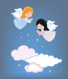 Leuke kleine engelen die in de hemel vliegen stock illustratie