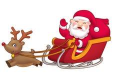 Leuke kleine Kerstman sleight Stock Afbeelding