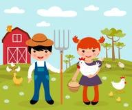 Leuke kleine landbouwers bij landbouwbedrijf stock illustratie