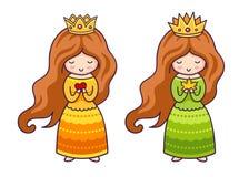 Leuke kleine prinsessen met hart en het blad van de de herfstesdoorn vector illustratie