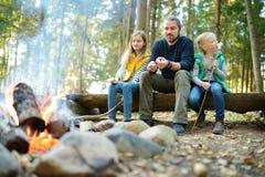 Leuke kleine zusters en hun vader roosterende heemst op stokken bij vuur Kinderen die pret hebben bij kampbrand Het kamperen met  stock afbeeldingen