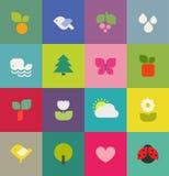 Kleurrijke aard. Geplaatste pictogrammen. Vector illustratie Stock Afbeeldingen