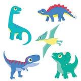 Leuke Kleurrijke Geplaatste Babydinosaurus: T rex, Triceratops, Brontosaurus, Stegosaurus, Pterodactylus royalty-vrije illustratie