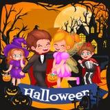 Leuke kleurrijke Halloween-jonge geitjes in kostuum voor partijreeks geïsoleerde vectorillustratie vector illustratie