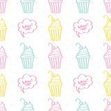 Leuke kleurrijke hand getrokken cupcake naadloze patroonachtergrond Stock Fotografie