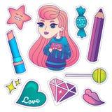 Leuke kleurrijke kentekens en stickers royalty-vrije illustratie