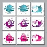 Leuke kleurrijke monsterspictogrammen Stock Afbeeldingen