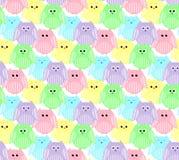 Leuke kleurrijke uilen Stock Foto's