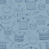 Leuke kokende potten en het van letters voorzien Royalty-vrije Stock Afbeelding