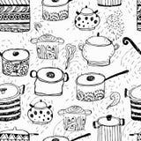 Leuke kokende potten en het van letters voorzien Stock Fotografie